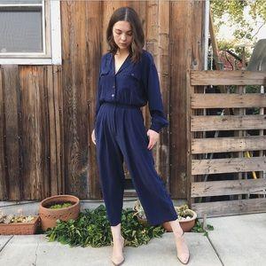 Vintage washed silk minimalist navy jumpsuit